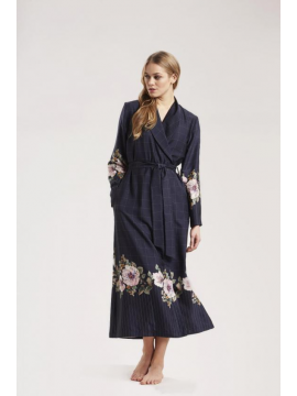 Louis Feraud Indigo Flowers Robe